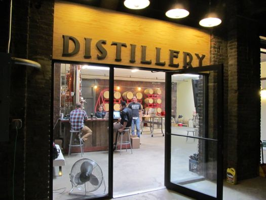 albany distilling co entrance night