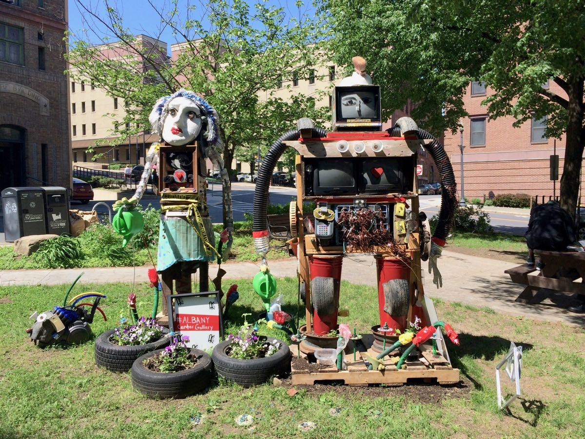 Albany Center Gallery Maiden Lane park recycled robots