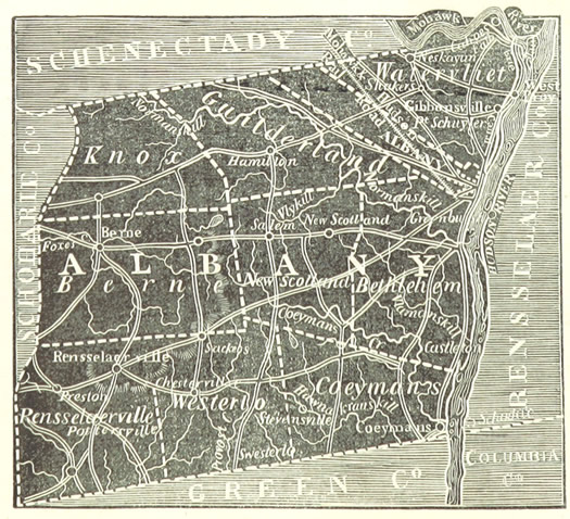 Albany County map 1850 Annals of Albany cropped