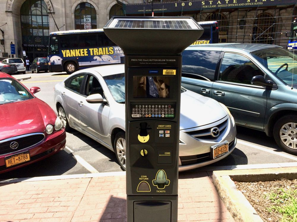 Albany pay by plate parking meter State Street