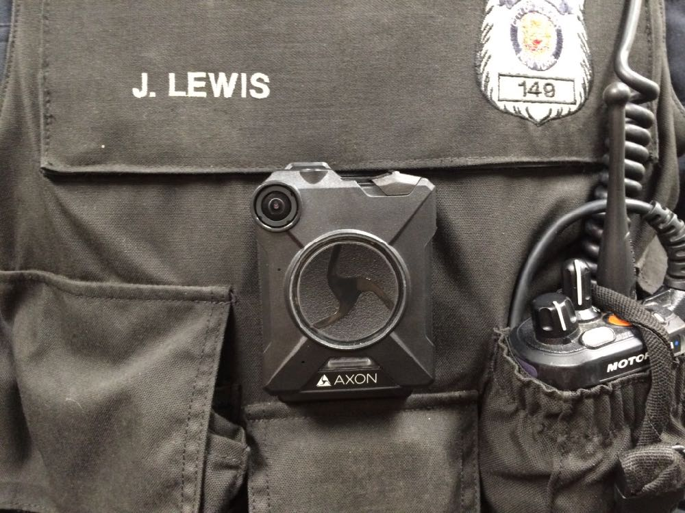 Albany police body camera Axon closeup