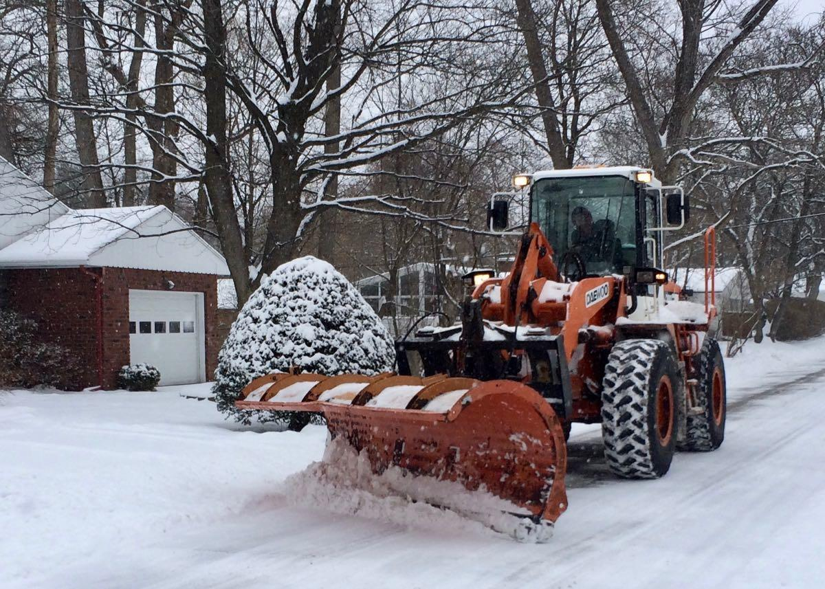 Albany snow removal front end loader plow