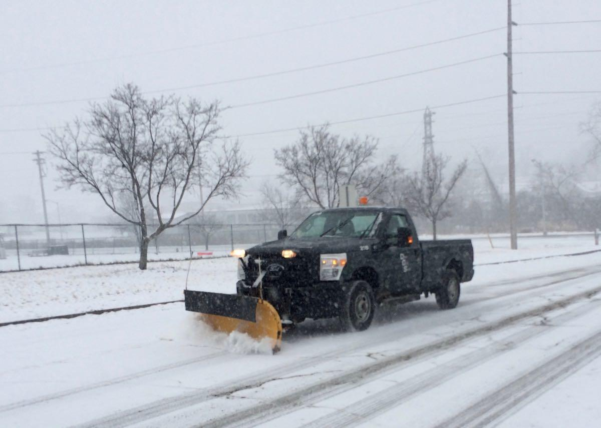 Albany snow removal pickup with plow