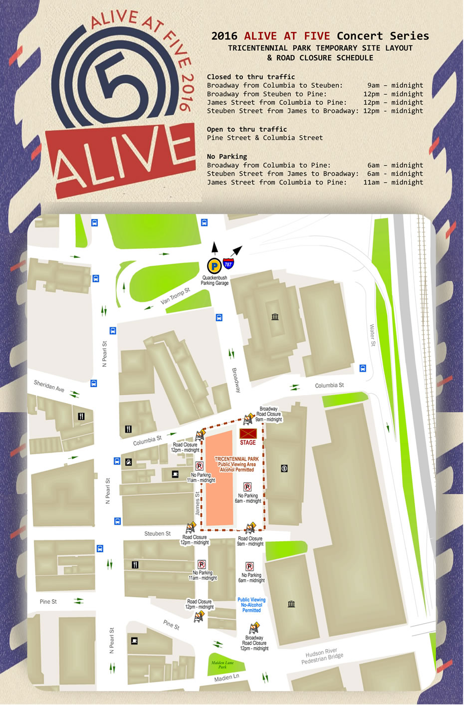 Alive at Five 2016 street map
