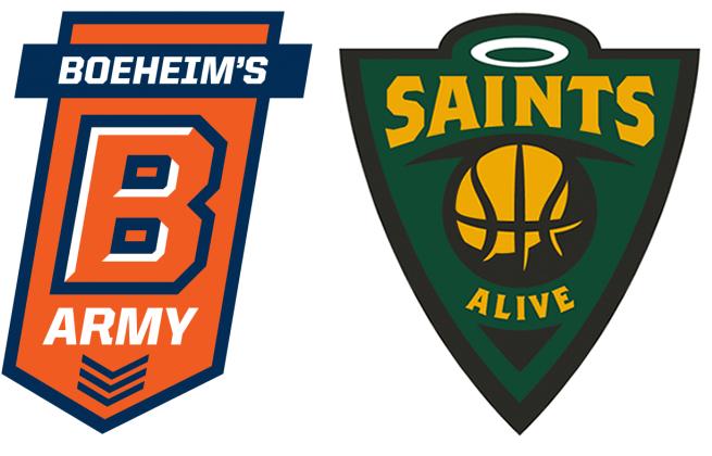 TBT Boeheims Army Saints Alive logos