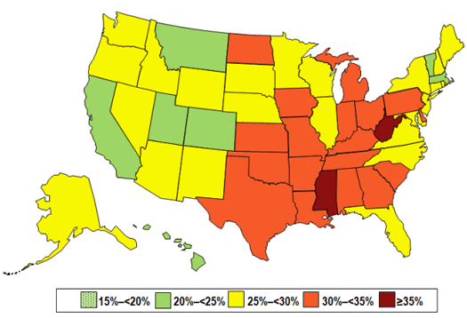 CDC 2013 state obesity prevalence map