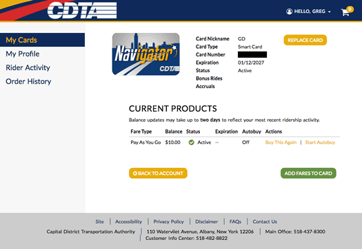 CDTA Navigator account screen