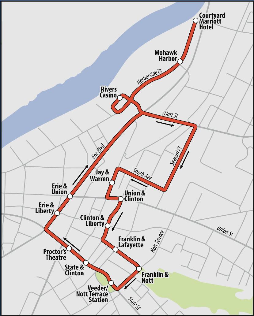 CDTA electric city trolley map 2017