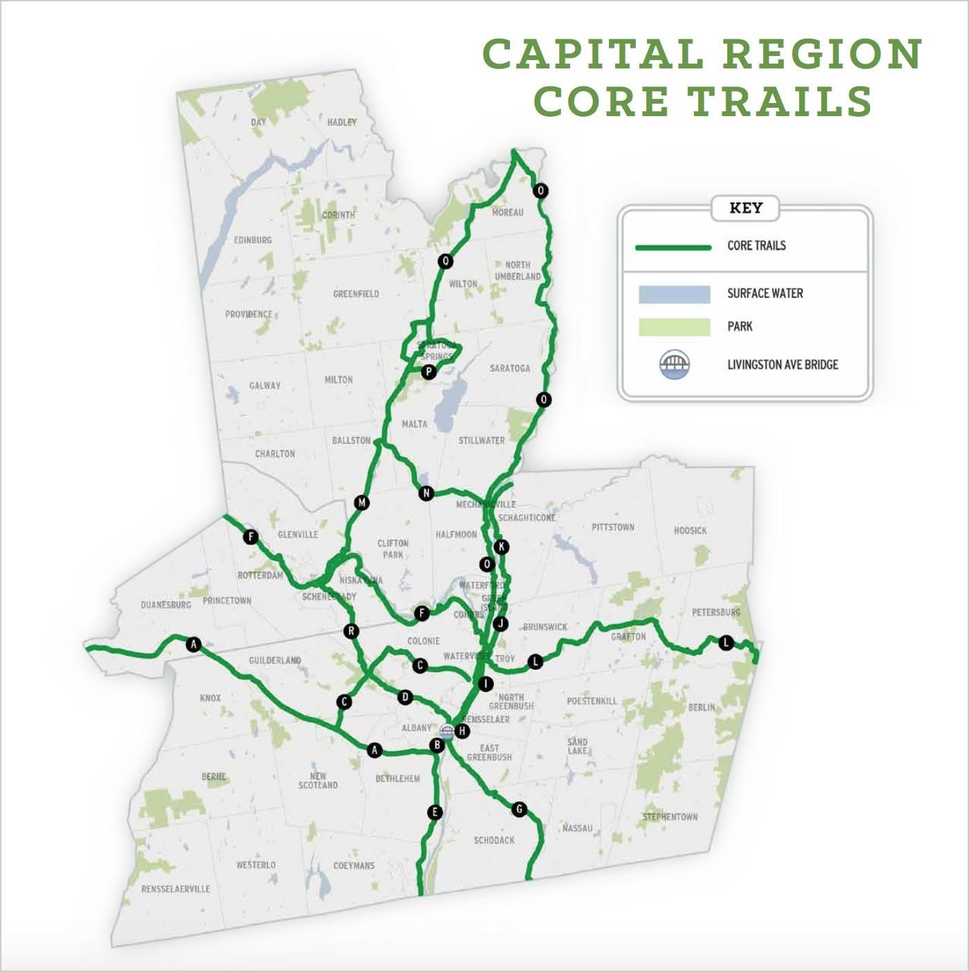Capital District Trails Plan 2018 core trails map