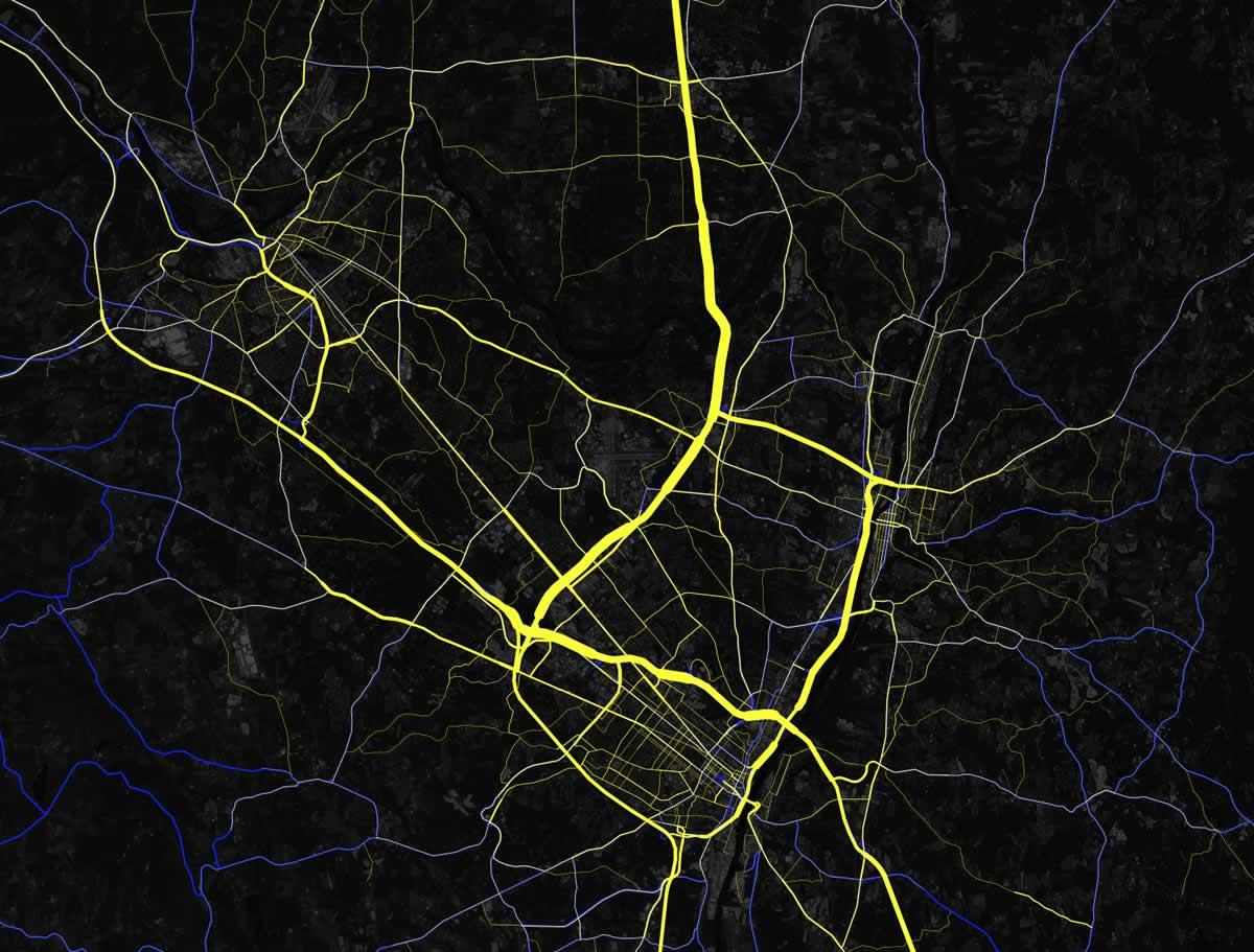 Capital Region traffic arteries large Mapbox