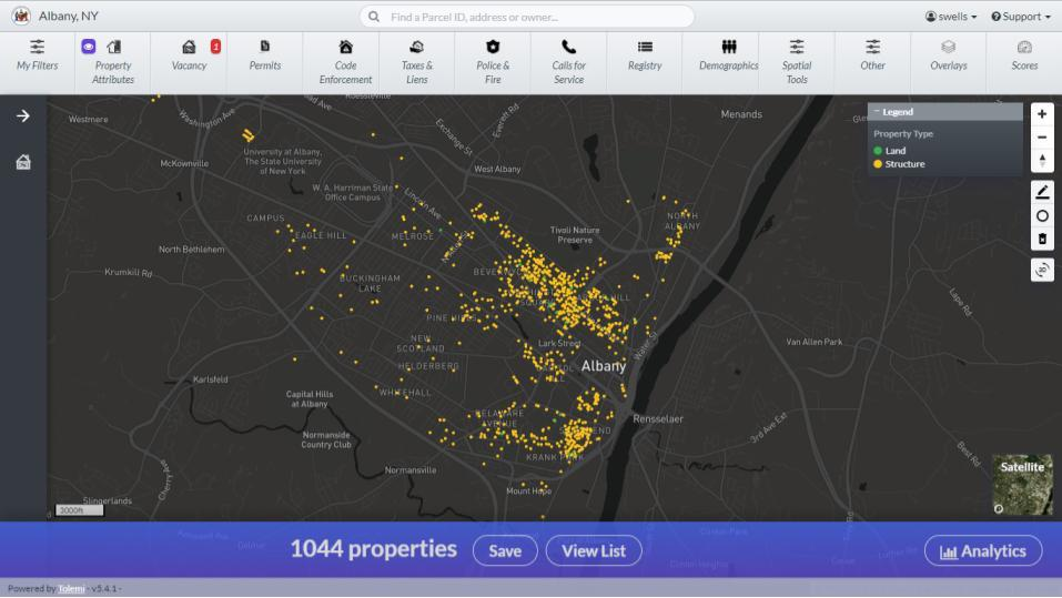 City of Albany Building Blocks Vacant Building map 2018-January screengrab