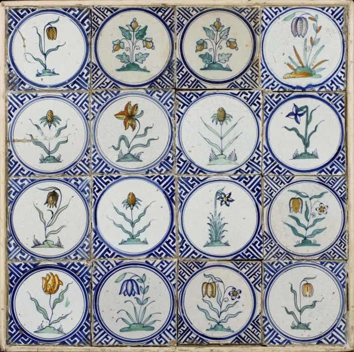 Dutch earthenware tile flowers Albany Institute