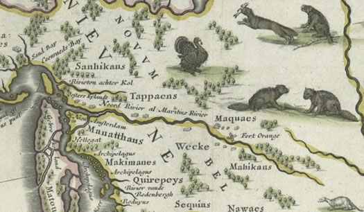 Dutch map Hudson Valley south 1635