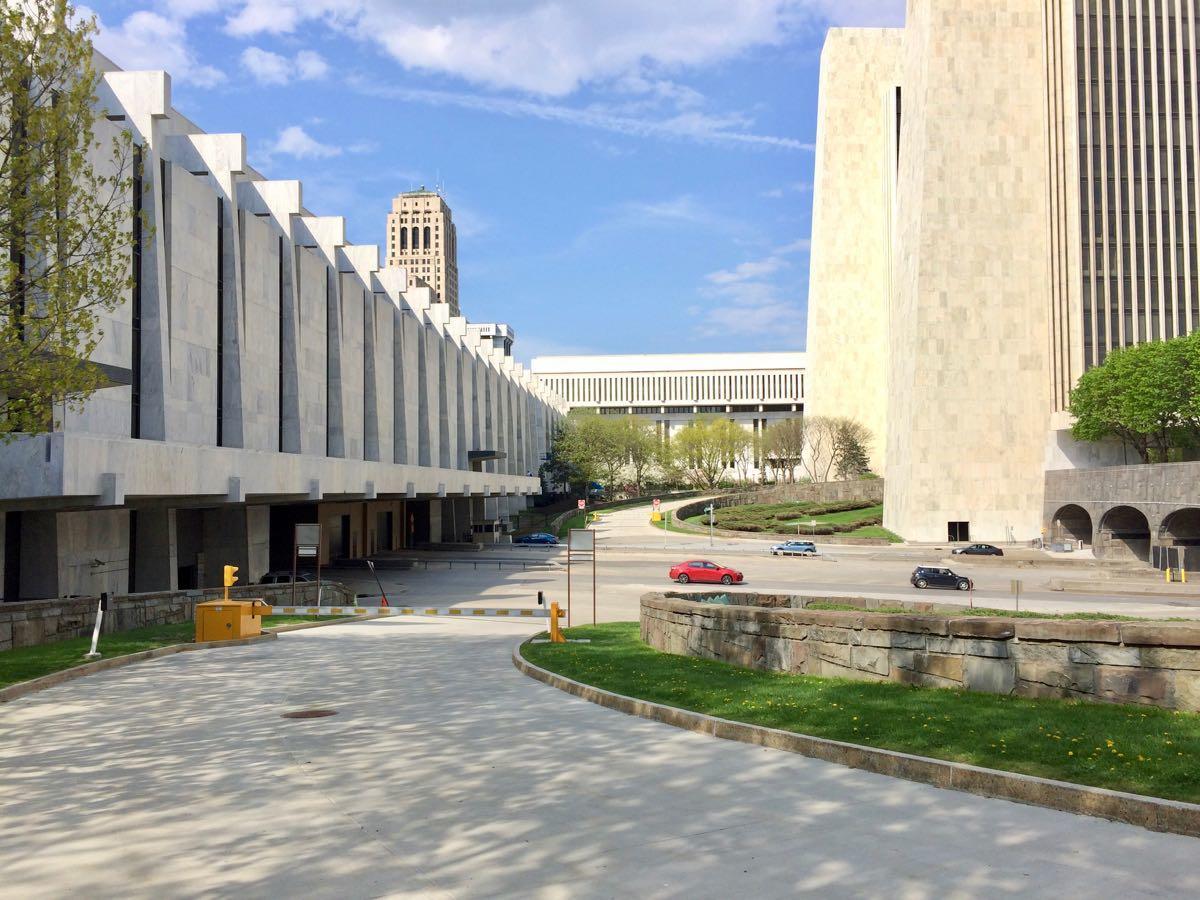Empire State Plaza indoor bike parking plaza ramp gate