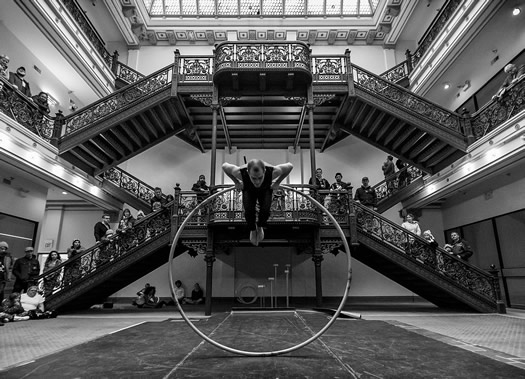 FAQ Circus Frear Atrium performer Justin Dale photo Doug Liebig