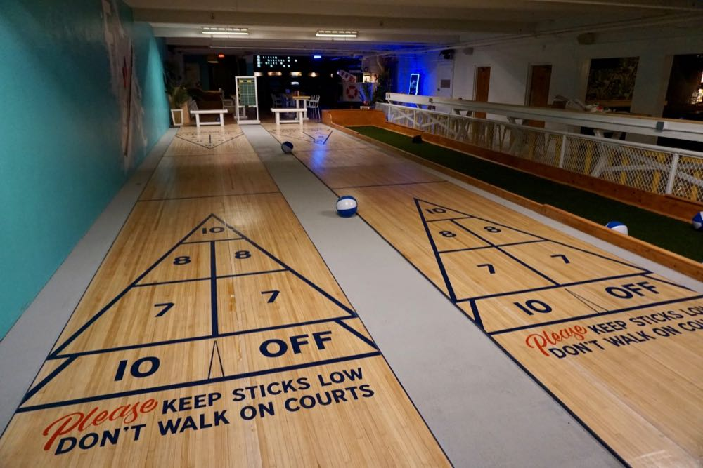 Franklin Alley Social Club shuffleboard and bocce courts