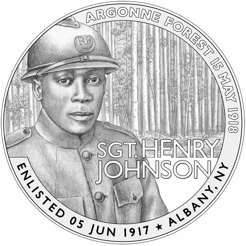 Henry Johnson medal design obverse by Chris Costello
