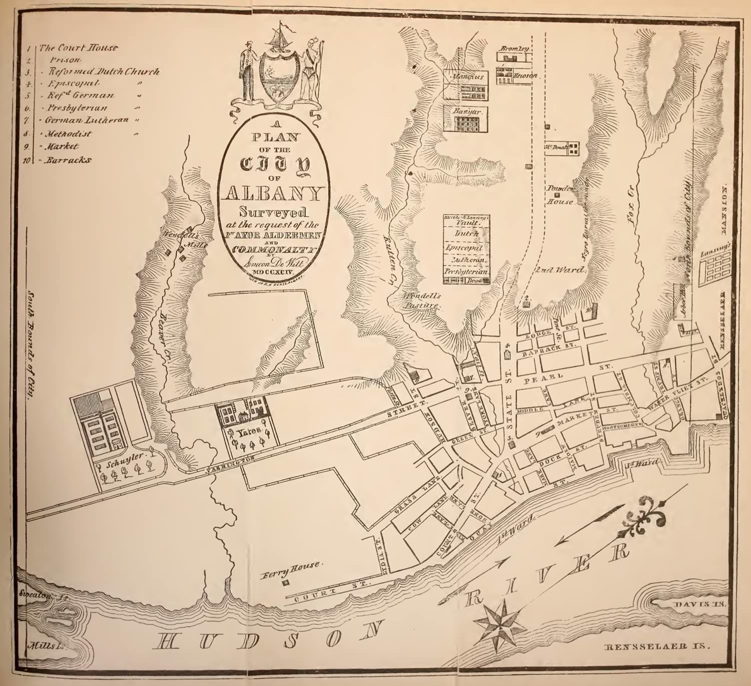 History of Albany Weise De Witt Albany map 1790