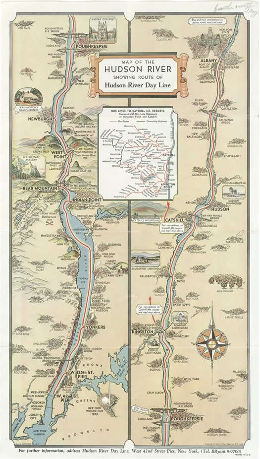 Hudson River Day Line poster map