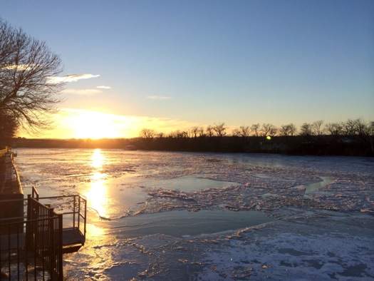 Hudson River at Troy ice sunset