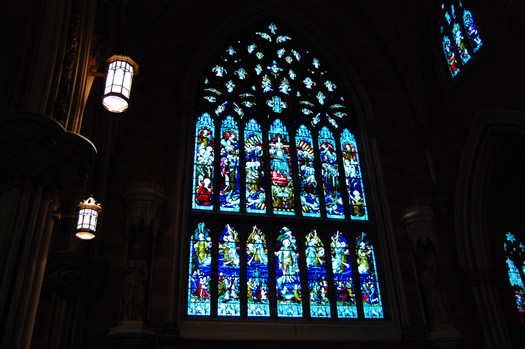 stained glass Immaculate Conception Lady window