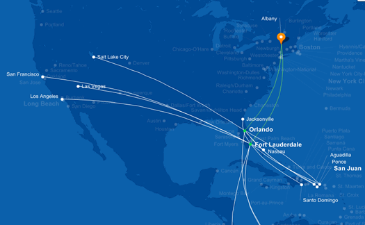 JetBlue ALB service map 2015-04-06