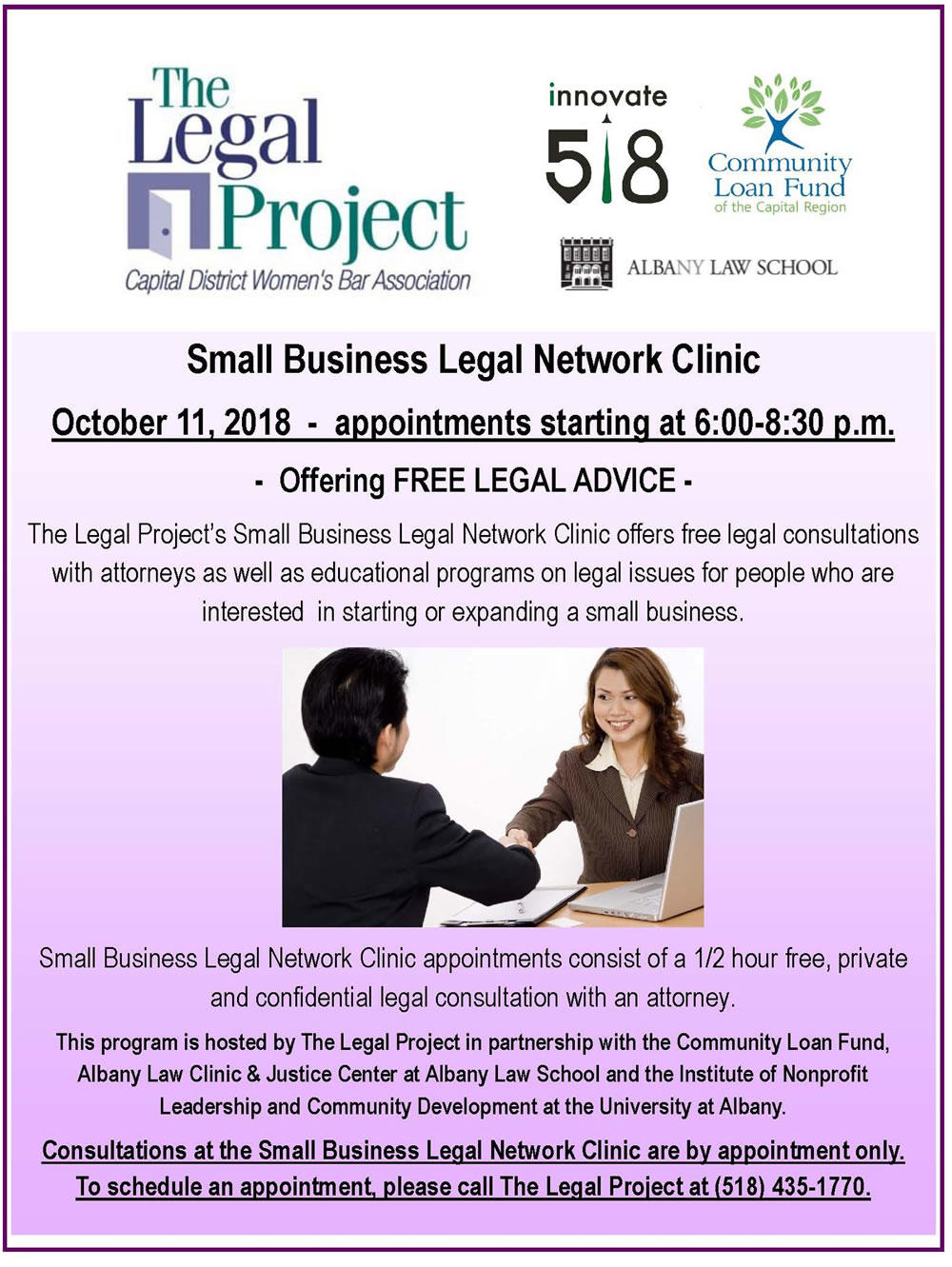 Legal Project small business legal clinic poster 2018-October