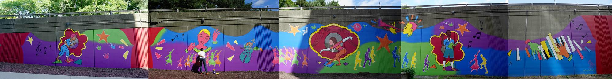 Liz Zunon downtown Albany mural composite pano