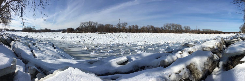 Mohawk River ice jam 2018-02-13 pano