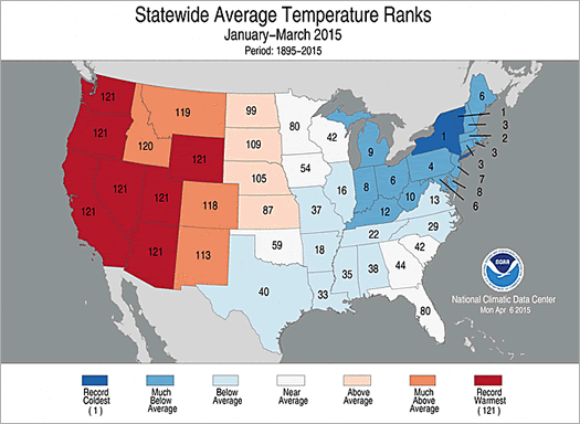 NOAA NCDC national temperatures 2015-Q1