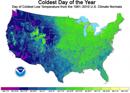 NOAA coldest day of the year around US