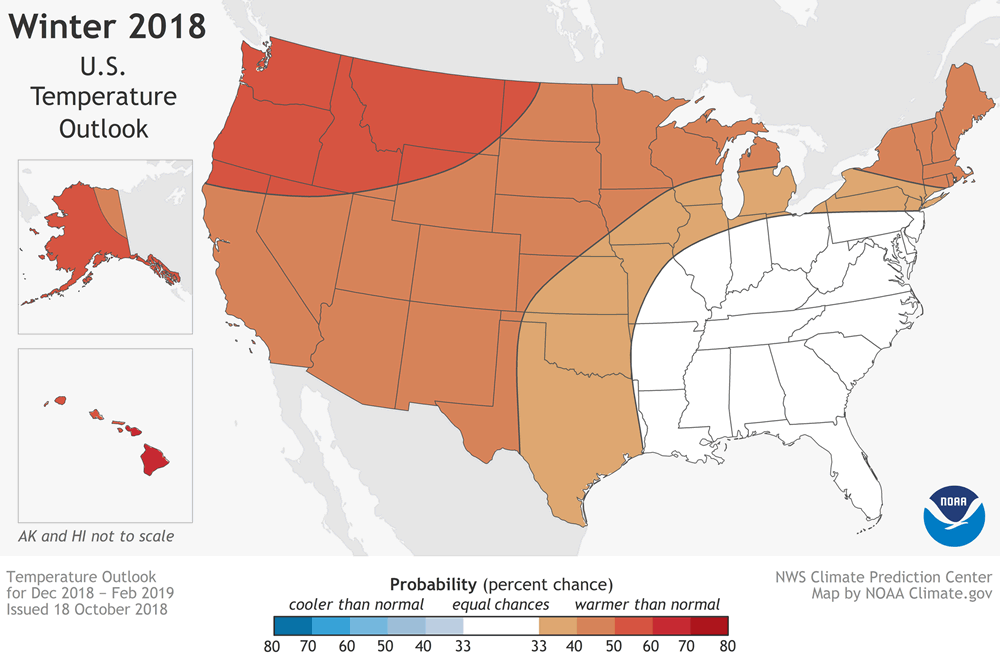 NOAA winter outlook 2018-2019 temperature