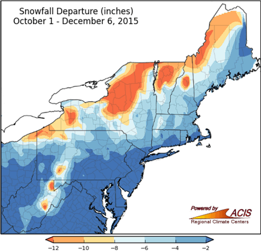 NRCC 2015 December 6 snowfall departure map