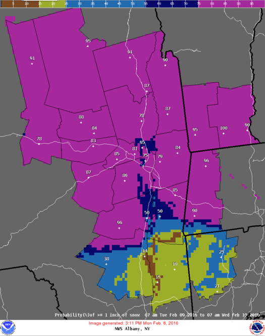 NWS Albany snowfall probability map example