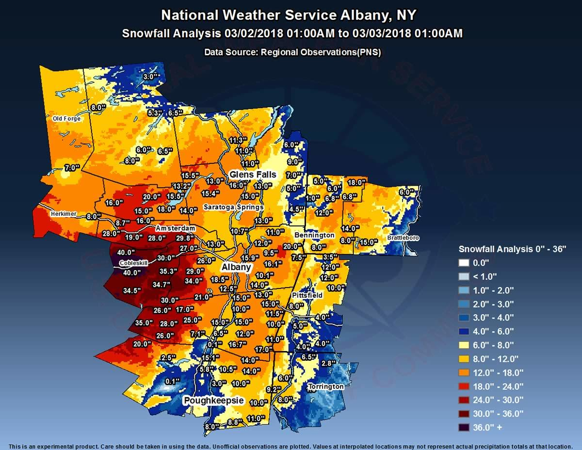 NWS Storm Total Snow 2018-March first Noreaster