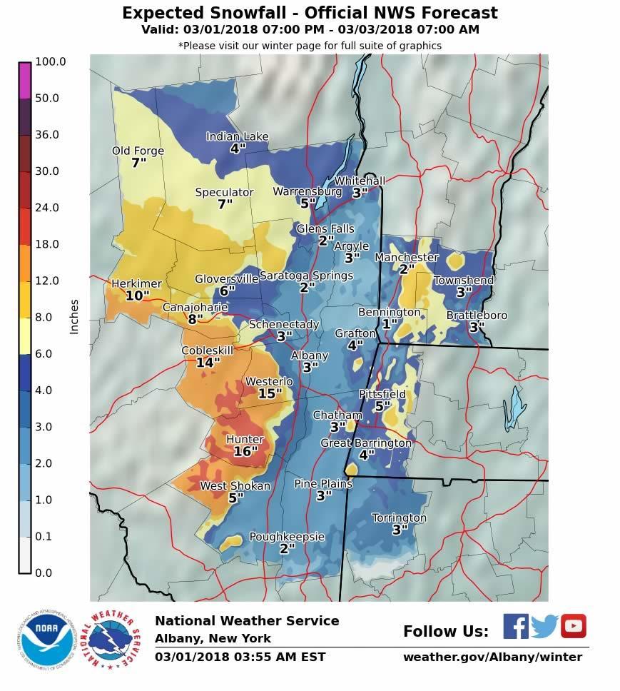NWS probabilistic snowfall map 2018-03-01