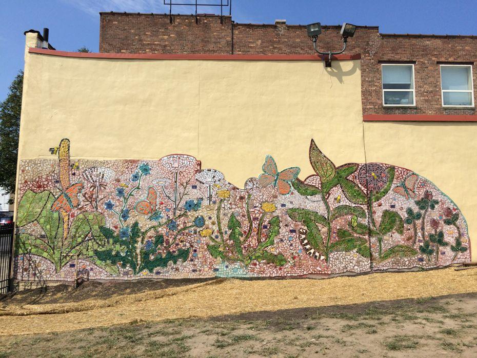 Orange street community mosaic mural all over albany