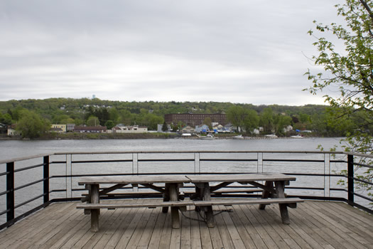 Peebles Island looking out to the Hudson and Lansingburgh