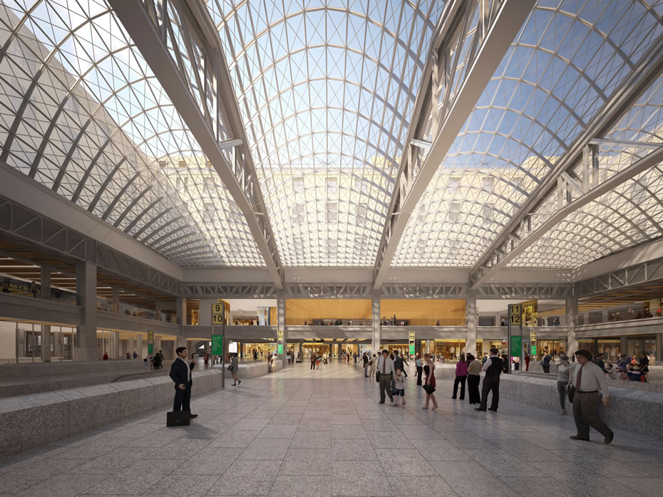proposed Penn Station train hall interior