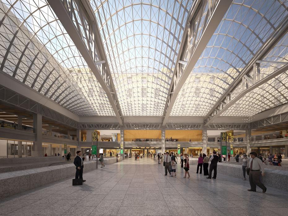 proposed Penn Station train hall interior