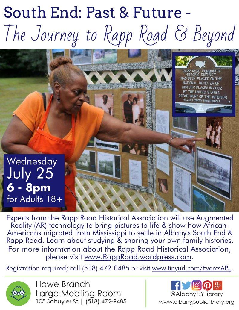 Rapp Road history augmented reality event at APL Howe 2018-July poster