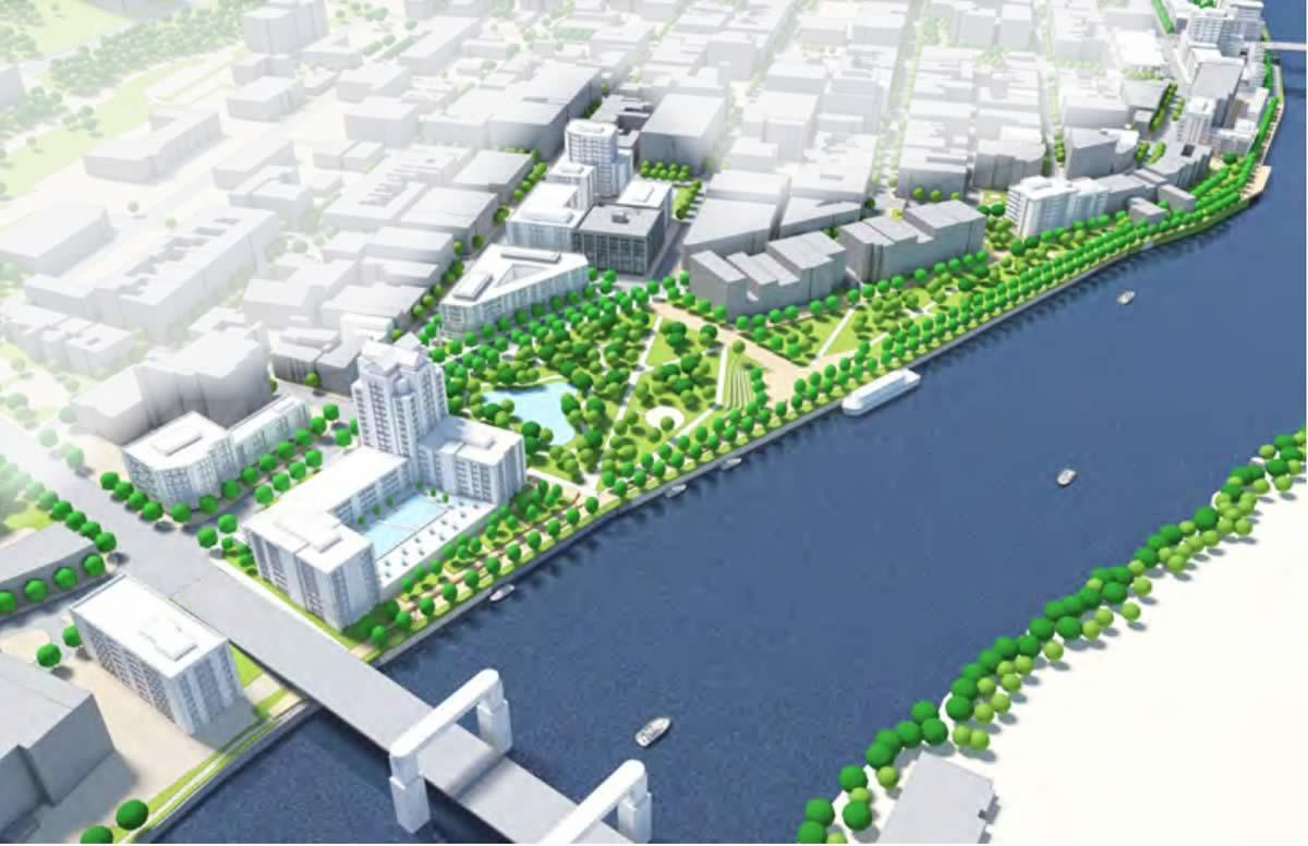 Realize Troy draft downtown riverfront reconfig concept