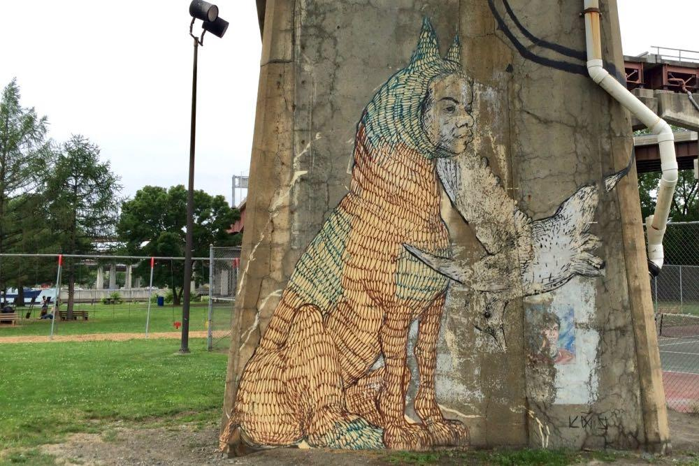 Rensselaer Riverfront Park mural 2017-July
