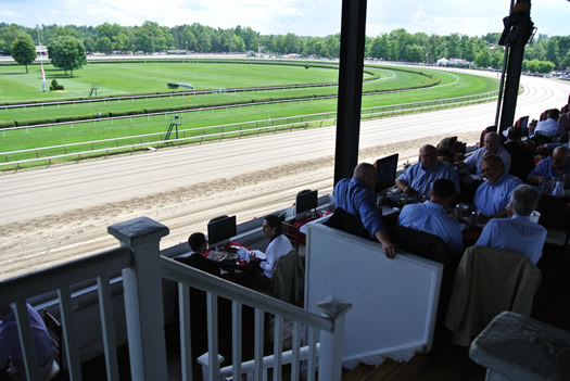 Saratoga Race Course track from clubhouse