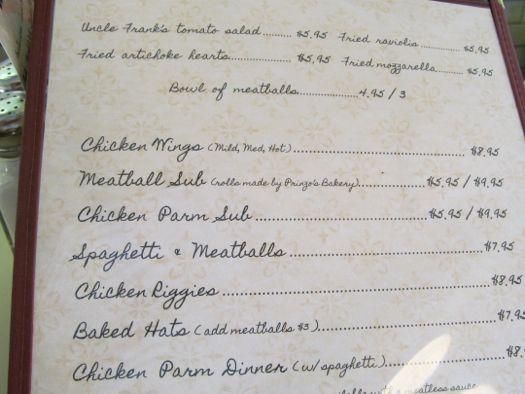 Sciortinos menu 1