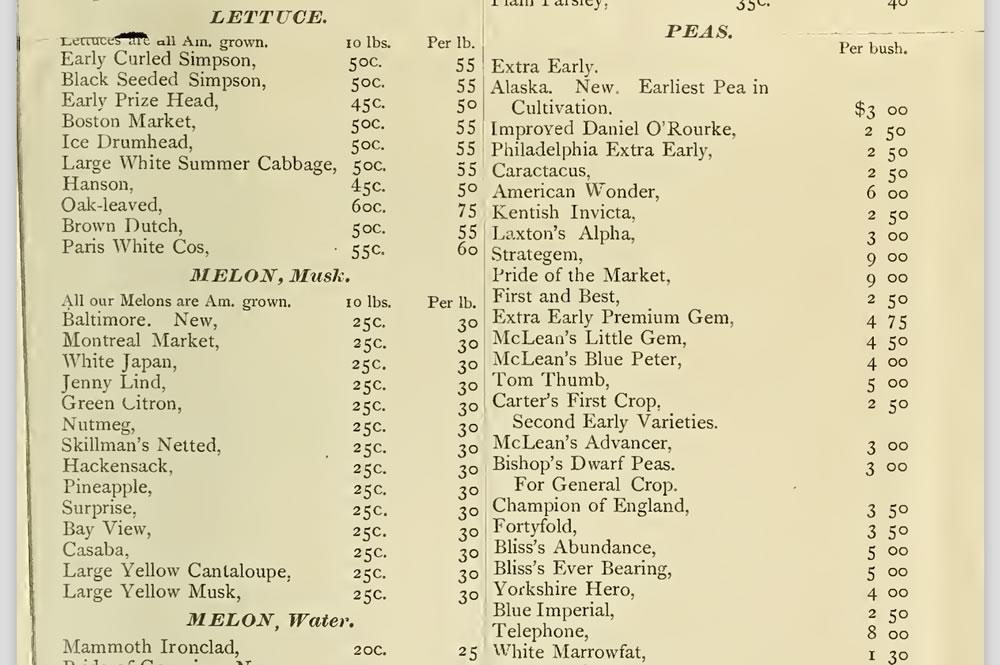 Shaker seed catalog clip varieties 1888