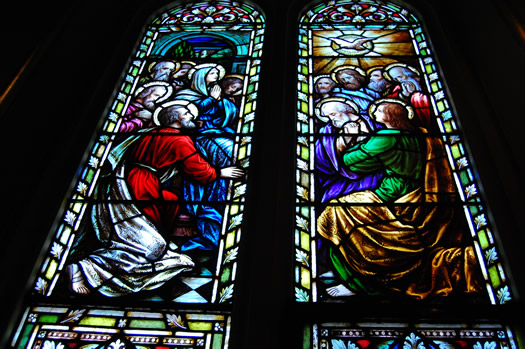 stained glass St Marys pictorial scene Holy Spirit to Apostles