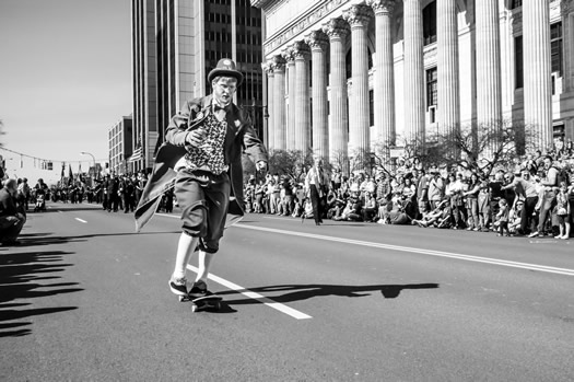 St Patricks Day 2012 parade leprechaun skateboard sebastien barre