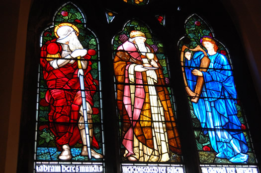 stained glass St Peters three christs