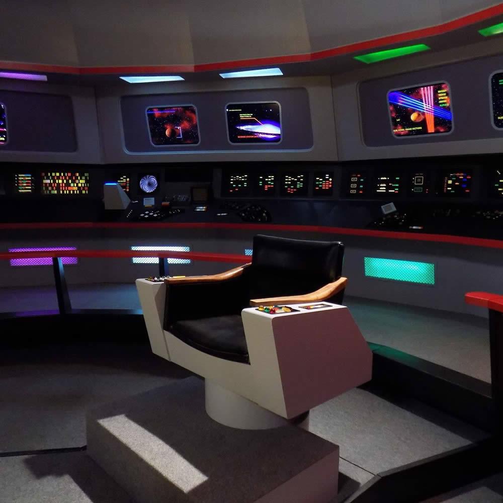 Star Trek set tour Ticonderoga captains chair